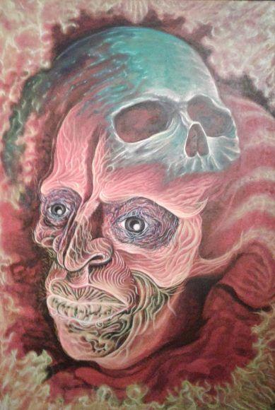 Acrílico, óleo y técnicas mixtas son las que usó en la elaboración de los cuadros. El artista es originario de Kimbilá, Izamal.