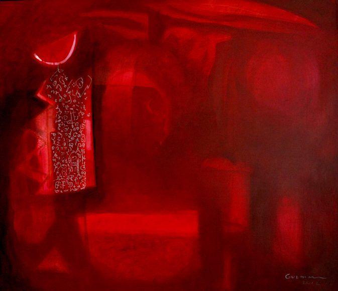 Luna roja. Técnica mixta sobre tela. 85 x 100 cm. 2012