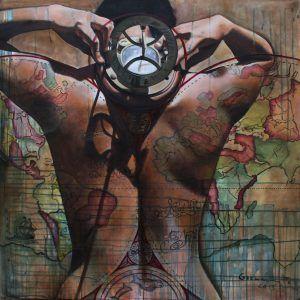 La brújula (colaboración con Jimena García) Acrílico y óleo sobre tela. 100 x 100 cm. 2013