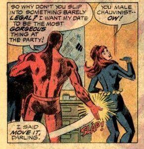 Daredevil acosando a Black Widow