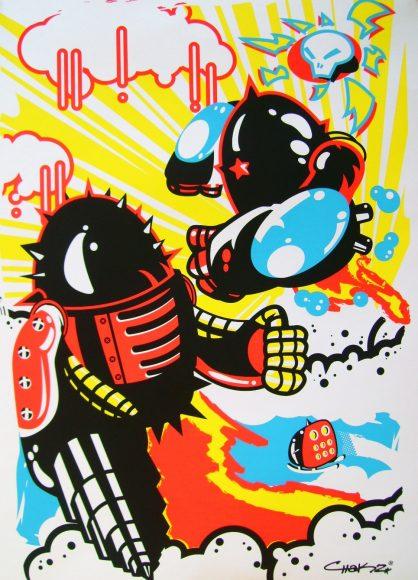 Duelo de Robottos, 2009, serigrafía, limitado a 50 piezas.